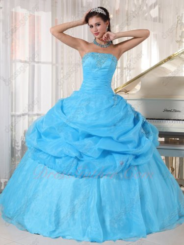 Top Designer Aqua Blue Organza Half Bubble Girls Quinceanera Party Dress Amazing
