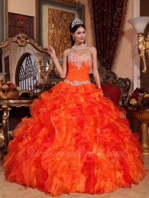 Bright Orange Ruffles Mingled With Red Organza Quinceanera Ball Gown Special Sale