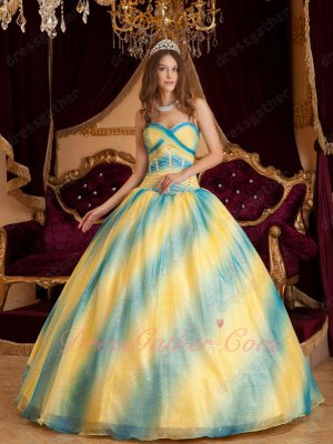 Sky Blue and Bright Yellow Gradient Ramp Color Quinceanera Opera Ball Gown Unique