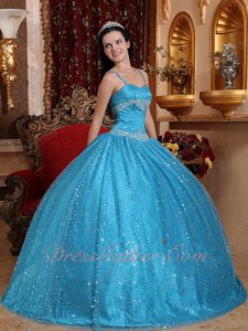 Spaghetti Straps Dodger Sky Blue Twinkling Sequin Tulle Sweet 16 Ball Gown Pretty