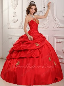 Inexpensive Floor Length Lace Up Back Evening Ball Gown Red Taffeta With Gold Applique