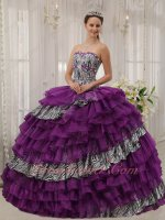 Orchid Purple and Zebra Oblique Alternant Layers Quinceanera Gowns Best Seller