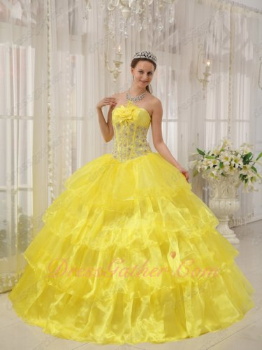 Bright Canary Yellow Cascade Dense Organza Layers Princess Prom Ball Gown