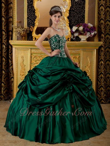 Pick Up Dark Green Taffeta Quinceanera Ball Gown Embroidered Natural Waist Bodice