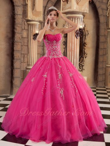 Western Quince Military Ceremony Dancing Flat Hot Pink Ball Gown Silver Embroidery