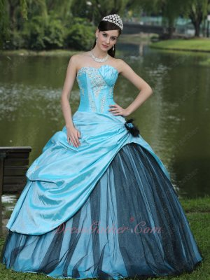 Aqua Blue Taffeta Overlay/Cover Quniceanera Ball Gown With Black Sparkle Tulle
