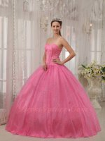 Lines Beadwork Bodice Rose Pink Lady Quince Ball Gown Puffy Flaring Sequin Flat Skirt
