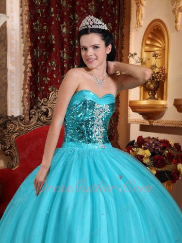 Light Teal Blue Gauze/Tulle Fluffy Quinceanera Cake Dress Flaring Sequin Bodice