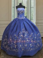 Western Deep Royal Blue Satin Silver Embroidery Quinceanera Ball Gown Custom Fit Free