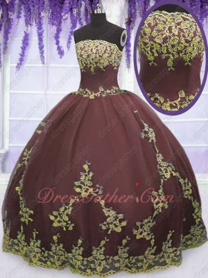Strapless Floor Length Quinceanera Court Ball Gown Burgundy With Gold Appliques