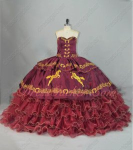 Western Burgundy Gold Horse Horseshoe Embroidery Overlay and Ruffles Quince Ball Gown