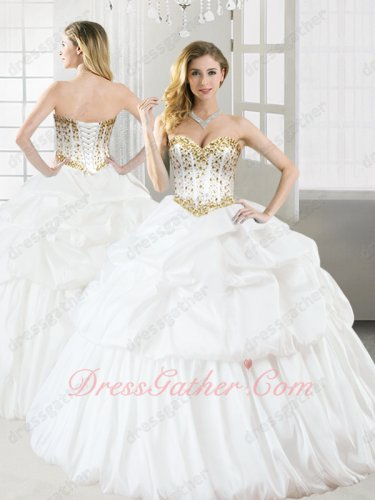White Taffeta Bubble Layers Dancing Quinceanera Ball Gown Golden Beading Detail