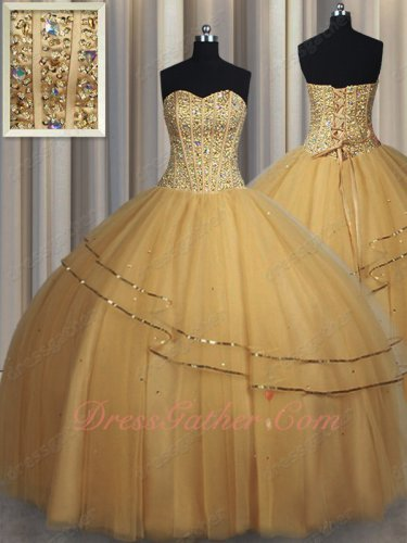 Gold Tulle Quinceanera Prom Pageant Ball Gown 2019 Custom Made Plus Size Free