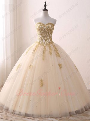 Princess Like Champagne Gauze Mesh Gold Applique 2019 Quinceanera Ball Gowns Top Seller
