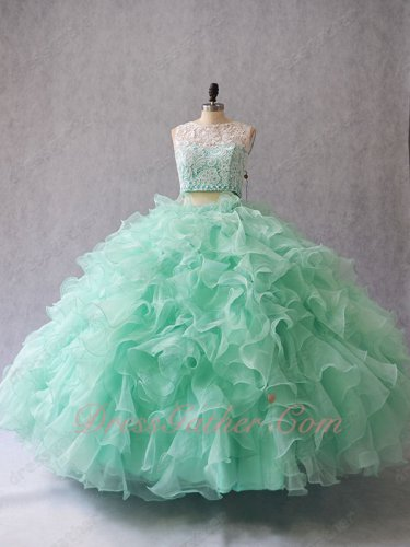 Two Pieces Detachable Suit Mint Green Tulle Ruffles Quinceanera Celebrity Ball Gown