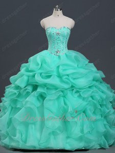 V-Shaped Fishbones Blouse Half Bubble Half Ruffles Vestidos De Ball Gown Apple Green