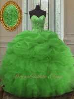 Spring Green Lines and Beading Bodice Puffy Organza Skirt Quinceanera Ball Gown 2020
