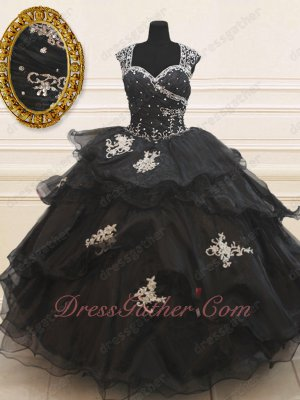 Gothic Double Straps Front Full Tulle Back Layers Applique Black Ball Gown Sales Online