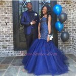Passementeried Bodice Dark Royal Blue Flaring Tulle Dropped Waist Ceremony Dress