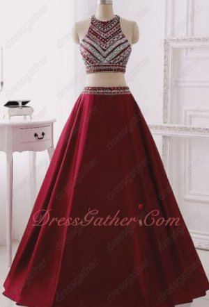 Halter Collar Striated Beading Burgundy A-line Social Dancing Dress Two Pieces