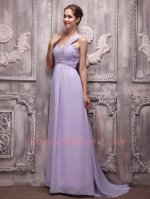 Lilac Color Of 2019 Formal Prom Dress One Strap Sweep Train Skirt With Beading