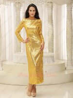 Sparkle Golden Sequin Long Sleeves Shank Length Cocktail Dress Transparent Tulle Back