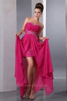 Crystals Magenta Rose Chiffon Middle Slit Mini Package Skirt Inside Evening Gowns
