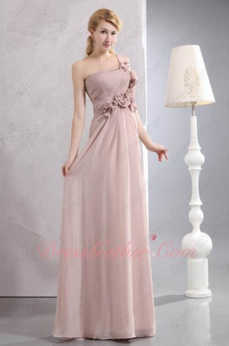 Rosette Flowers One Shoulder Pale Cameo Brown Chiffon Formal Prom Dress Gathering