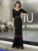 Half Sleeves Sheath Slit Skit Black Feather Evening Stage Queen Ceremony Gowns Sparkle