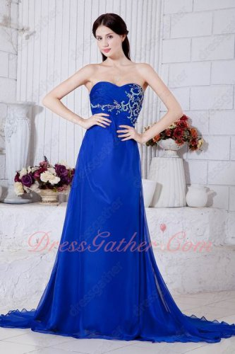 Embroidery and Beading Bodice Side Zip Empire Waist Prom Evening Gowns With Train