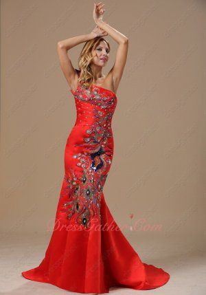 One-Strap Mermaid Fishtail Evening Ceremony Dress With Peacock Shape Applique