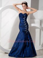 Navy Blue Taffeta Package Hips Mermaid Evening Prom Gowns Dress Hot Sale