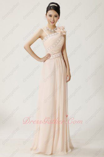 Asymmetric Straps Slender Blanched Almond Color Prom Dress Daytime Highlight Skin