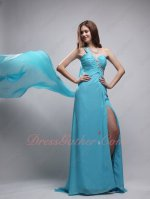 One Strap Watteau Train From Shoulder Aqua Formal Dress Opening Skirt Show Thigh