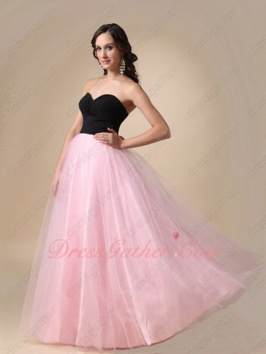 Black Chiffon Bodice Lovely Pink Tulle Floor Length Skirt Princess Ball Gown