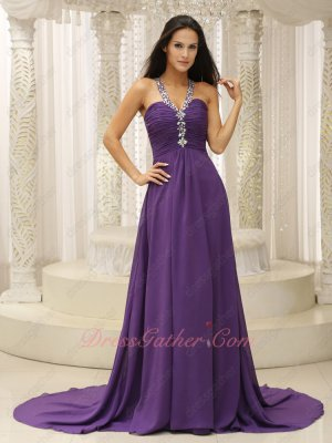 Medium Eggplant Purple Chiffon V-Shaped Straps Evening Gown Big Train Amiable