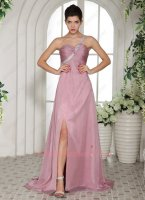 Beaded One Shoulder Cameo Brown Chiffon Formal Evening Dress Tailored Free