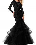Demure Sheer Scoop and Long Sleeves Applique Black Mermaid Mother of the Bride Dress Senior Women