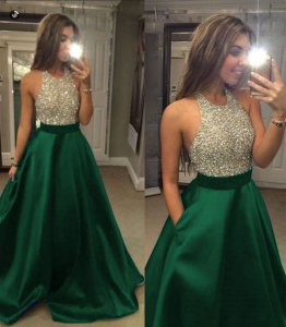 Beautiful Scoop Beaded Nude Bodice A-line Hunter Green Skirt Prom Party Dress Lady Wear With Pockets