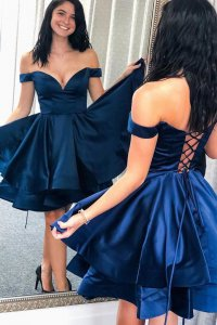 Pretty Off Shoulder Deep Royal Blue Tiered Skirt Homecoming Dress