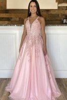 Designer New Pink Beaded Applique Neckline Hooks Back Masque Evening Gowns