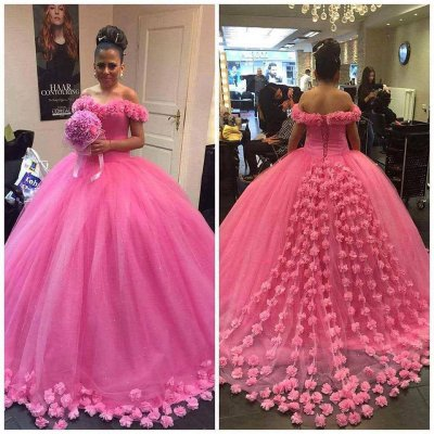 Designer Off Shoulder Handmade 3D Flowers Adorned Rose Pink Quinceanera Ball Gown Vestido De 15th Birthday