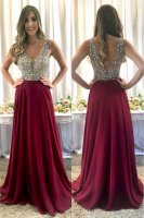 Lovely Deep V Neck Nude Beaded Bodice Wine Red Floor Length Skirt Evening Prom Dress