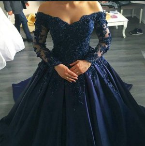 Designer Off Shoulder Sheer Long Sleeves Beaded Applique Navy Blue Quinceanera Ball Gown With Train