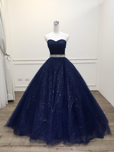 Dazzling Pleated Bodice Crystal Sash Adorned Sparkle Tulle Navy Blue Quinceanera Gown