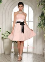 Nifty Strapless Blush Chiffon Mini Skirt Bridesmaid Dress With Black Belt