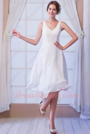 Foil The Bride Simple Style White Chiffon V-Neck Two Layers Skirt Bridesmaid Dress
