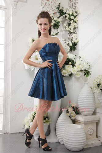 Strapless Navy Blue Taffeta Mini Length Bridesmaid Dress Wholesale Price