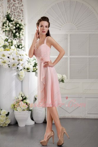 Girlish Double Straps Pearl Blush Pink Chiffon Bridesmaid Dresses 2019 Trend Color