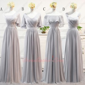 Silver Bridesmaids Wear Long Chiffon Skirt Series Different Each Other